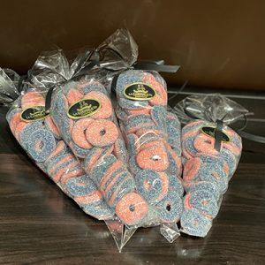 bonbon anneaux framboise